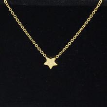 Fnixtar acier inoxydable couleur or petit amour coeur étoile lune queue de poisson lune pendentif lien chaîne collier pour femmes 45 cm 2 pcs/lot(China)