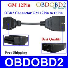 Neueste obd/obd2 stecker gm 12-polig adapter 16 pin diagnose kabel gm 12-polig für gm-fahrzeuge versandkostenfrei(China (Mainland))