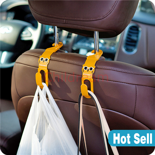 Free shipping lovely cartoon cat plastic double hooks, multifunctional clothes/ bag holder, car chair back garbage bag hanger(Hong Kong)