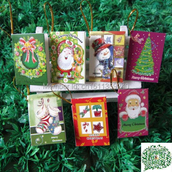 Free shipping Christmas Card Greeting Card Wish Card Christmas Tree Decoration Ornaments Gift Cards 320pcs/lot(China (Mainland))