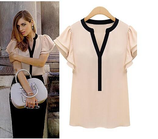 Elegant Women Blouses Frill Sleeve Chiffon Short Sleeve Shirts Plus Size Woman Vestido Female Tops Clothing Ladies Clothes 2015(China (Mainland))