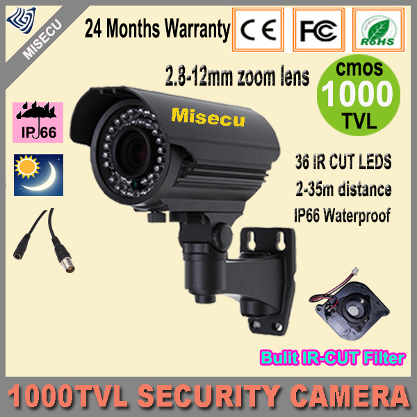 New cctv camera 1000TVL 1/4 CMOS 36pcs HD 2.8-12mm Zoom lens CCTV Camera IR CUT Outdoor Night Vision CCTV security With Bracket