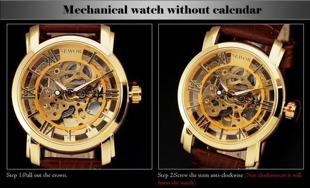 Hollow Steampunk Casual Mechanical Hand Wind Wristwatch