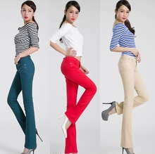 2014 Autumn Winter Fashion candy color jeans stretch Women trousers clothing color slightly flared trousers wide leg jeans