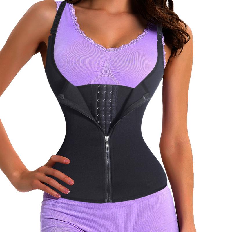 Women Waist Trainer Strap Corset With Zipper 3 Hook Tummy Control Vest Full Body Shaper Waist Cincher Slimming Trimmer Shapewear