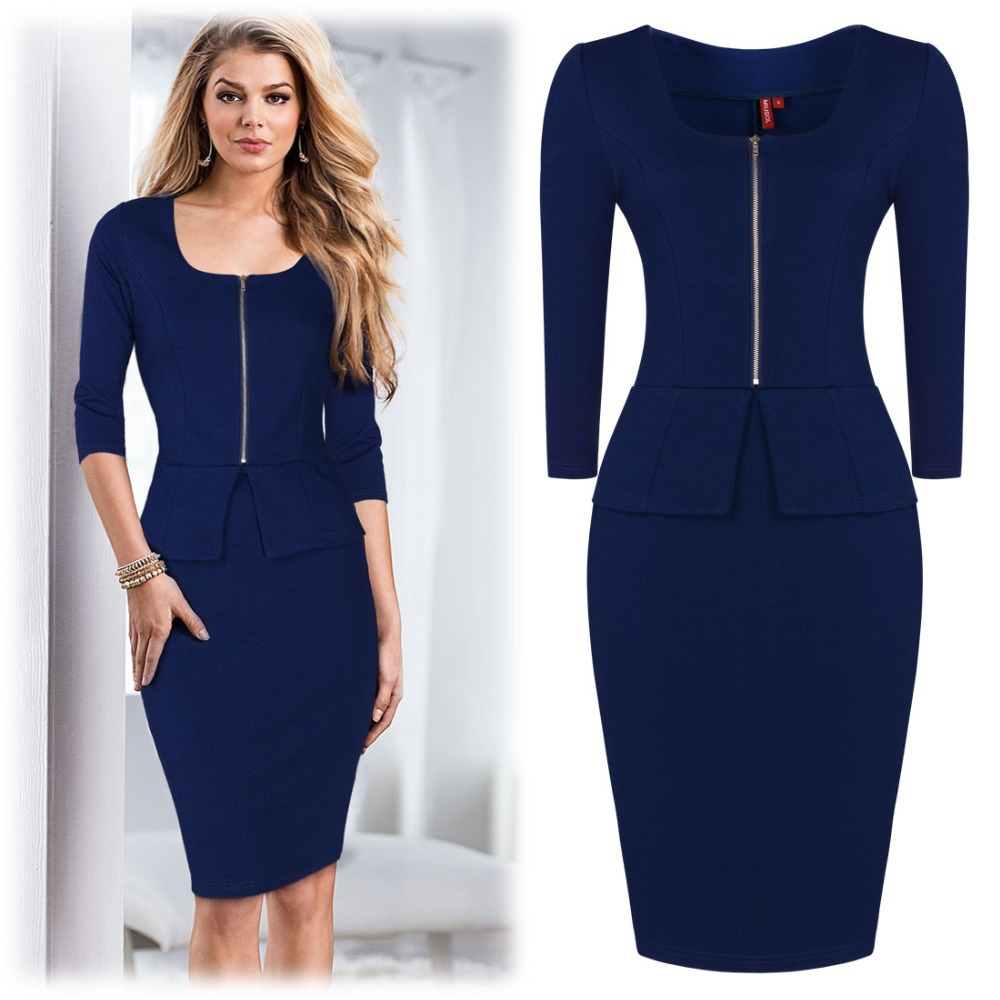 2015 Summer Women Work Dress Slim Fat Fashion Office Ladies Dresses In Dresses From Women 39 S