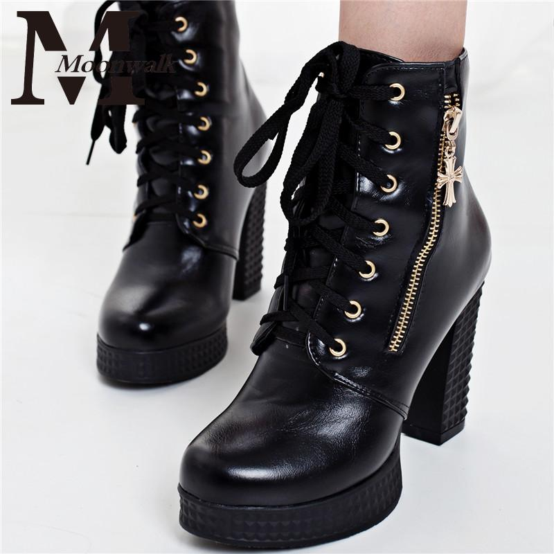 MOON WALK 2015 women boots gladiator thick high heels ankle boots platforms cheap female boots black white botas femininas X0698(China (Mainland))