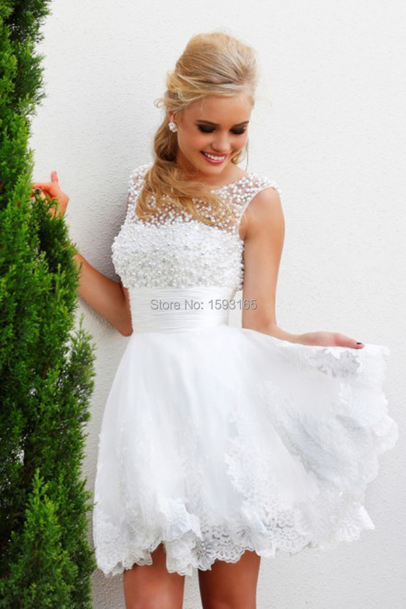 White short wedding dresses the brides lace appliqued for Good wedding dresses for short brides