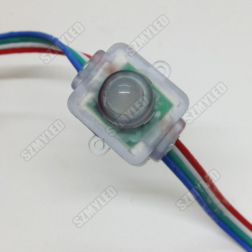 MIYOLE 50pcs LED Pixel Module WS2811 Waterproof IP65 DC5V 12mm RGB led modules Square Exposed Light String FREE SHIPPING(China (Mainland))