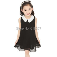 Free Shipping new 2014 Summer Girls Pleated Chiffon One-Piece Dress With Paillette Collar Children Colthes For Kids Baby 6colors