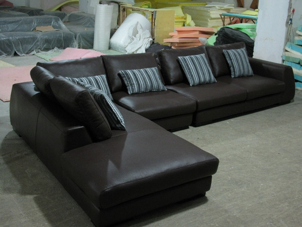 2015 Modern Furniture Genuine Leather Sectional Sofa Set with cushions shipping to your port(China (Mainland))