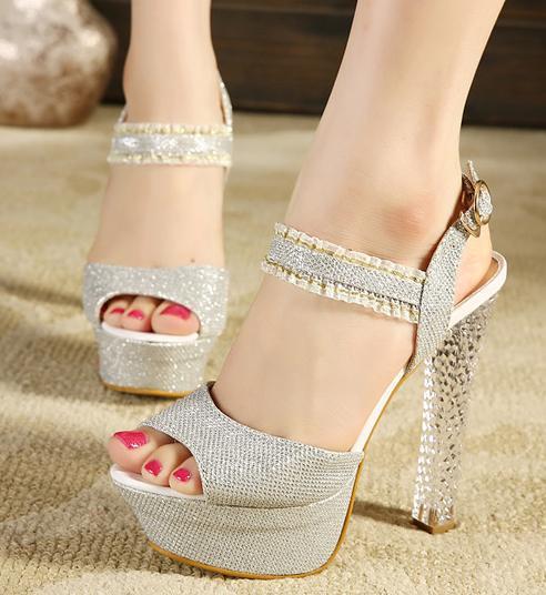 Glitter Wedding Pumps Shoes,Silver Crytal Heel Bridal Shoes High Platform Women Sandals Size 34 39 - Bond girl store