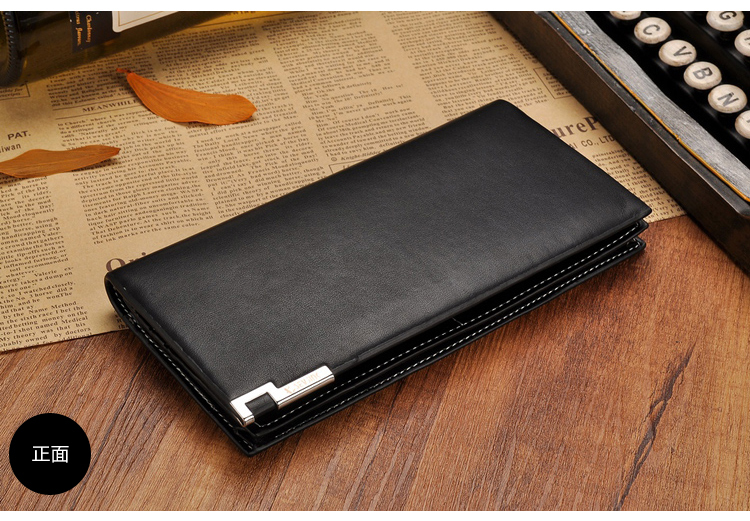 New luxury authentic ultra-thin leather wallet zipper boom long men more screens personality leather wallet(China (Mainland))