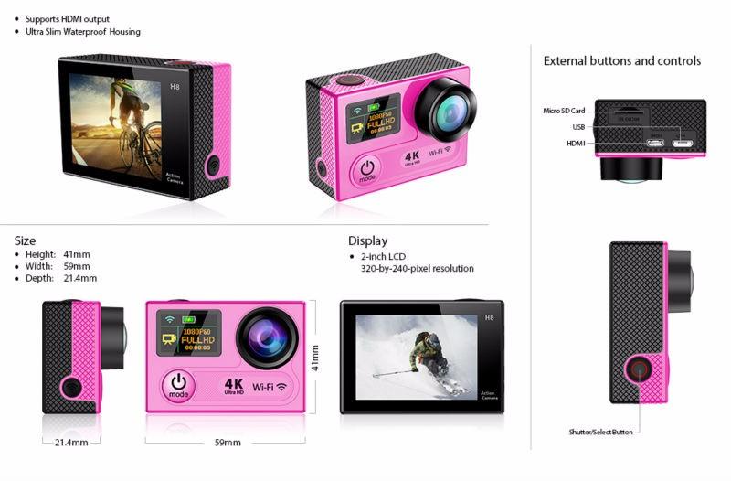 Upslon EKEN H8 / H8R Action Camera Ultra 4K / 30fps 12MP WiFi 2.0″Dual LCD Remote Controller Helmet Cam Waterproof Sport Camera