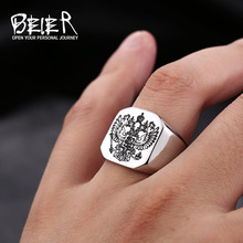 Beier new store Polished Stainless Steel ring Band Biker Men's ring a coat of arms of the Russian Signet Ring for men BR8-320