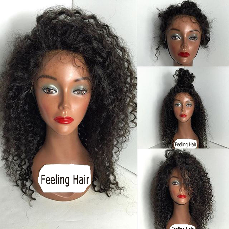 Curly Lace Front Wigs With Bangs 89