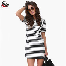 2016 New Designer Hot Sale Women Round Neck Fashion Black and White Striped Short Sleeve Straight Short Casual Dress(China (Mainland))