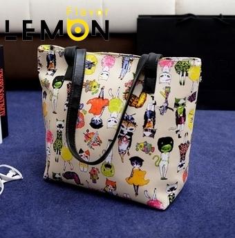 5 Color 2017 Cartoon Print Hit Color Women Messenger Bags Fashion Big Shoulder Handbag PU Leather Bolsas Casual Women Bag A450(China (Mainland))