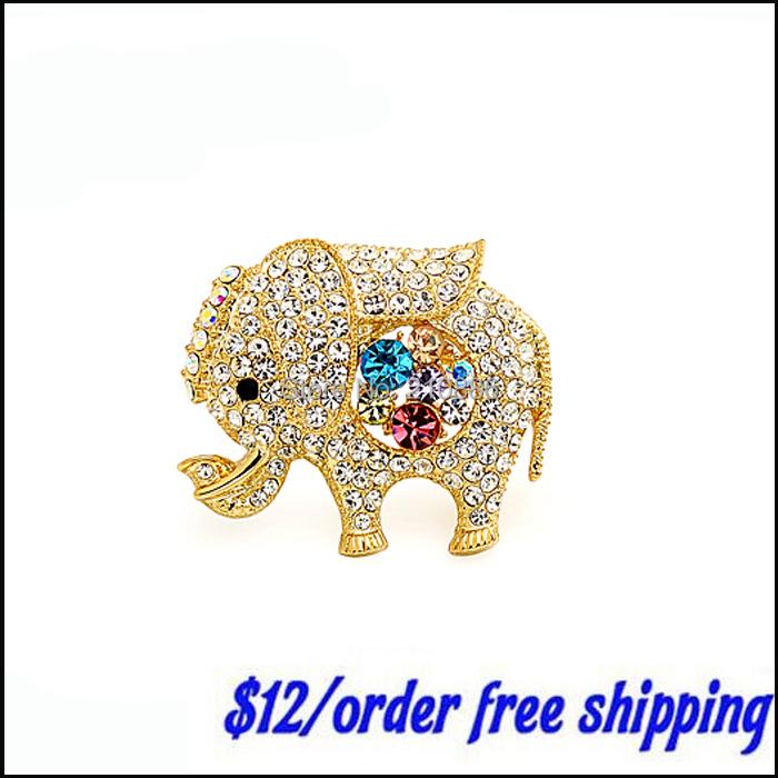 fashion scarf shawl pin brooch,rhinestone crystal,cute elephant,best gift to lady,Costume Metal buckle,(China (Mainland))