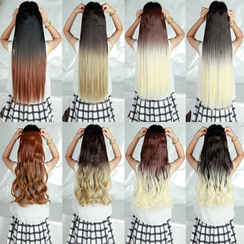 """2015 Summer Long Ombre hair Extensions Clip in ins Hair Extentions 3/4 Full Head 26"""" Straight NEW Fashion Dip bye Style(China (Mainland))"""