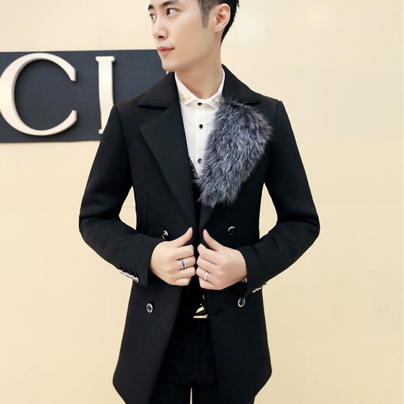 Mandarin Collar New Hot Button Fur Pattern Men Coat Trendy Cotton Casual Clothes 2015 Plus Size Popular Coat DY03Îäåæäà è àêñåññóàðû<br><br>