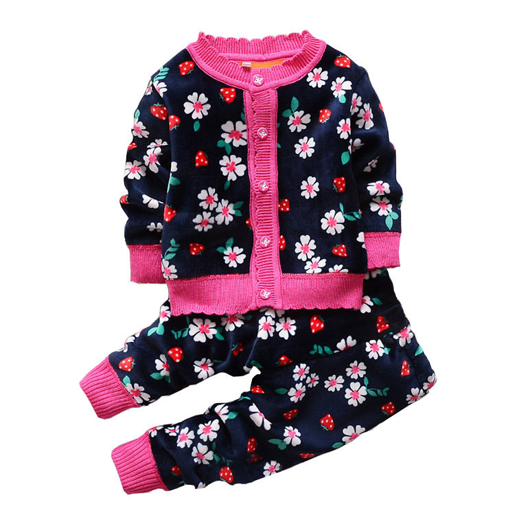 2015Autumn winter baby girls christmas clothing set kid Flower thicken Warm clothes set children Thermal cardigan sweaters+pant(China (Mainland))