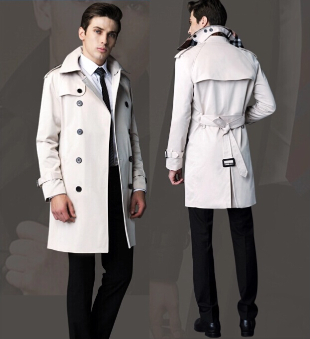 new spring autumn winter British Luxury Brand B 1:1 burberrlying Quality Men's trench coat khaki/black/blue plus size coats B595(China (Mainland))