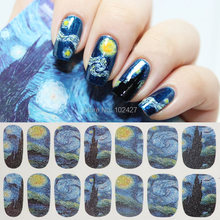 14Pcs/sheet Galaxy Nail Art Decals Water Transfer Nail Stickers Nail Art Wrap Tips Decoration Women Beauty Nail Tools