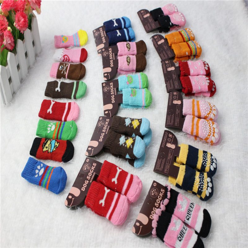 100pcs/25 pairs Cute Warm Pet Dog Socks Cotton knitting wool doggy shoes anti-slip Socks Pet Cat Puppy dog footprints Socks(China (Mainland))
