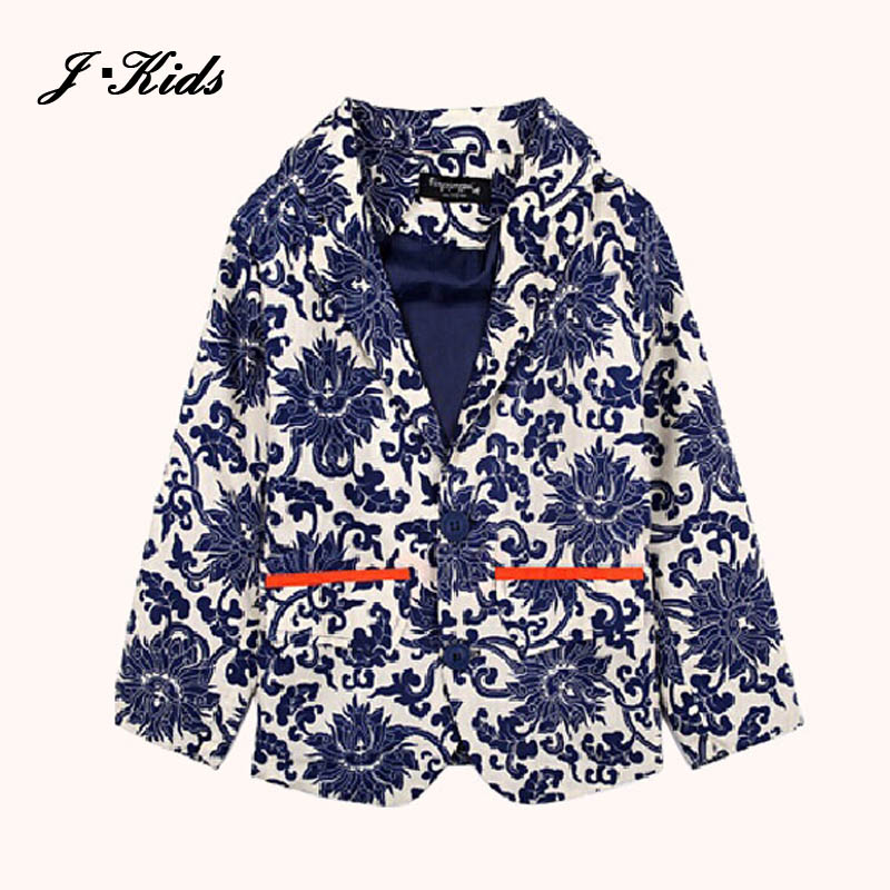2015 kids blazers boys blue and white porcelain flower print single-breasted boy blazer jacket plus size 110-150,Free shipping<br><br>Aliexpress