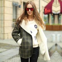 Veri Gude Women Faux Fur Collar Faux Suede Coat Plaid Pattern Faux Fur Coat for Winter(China (Mainland))