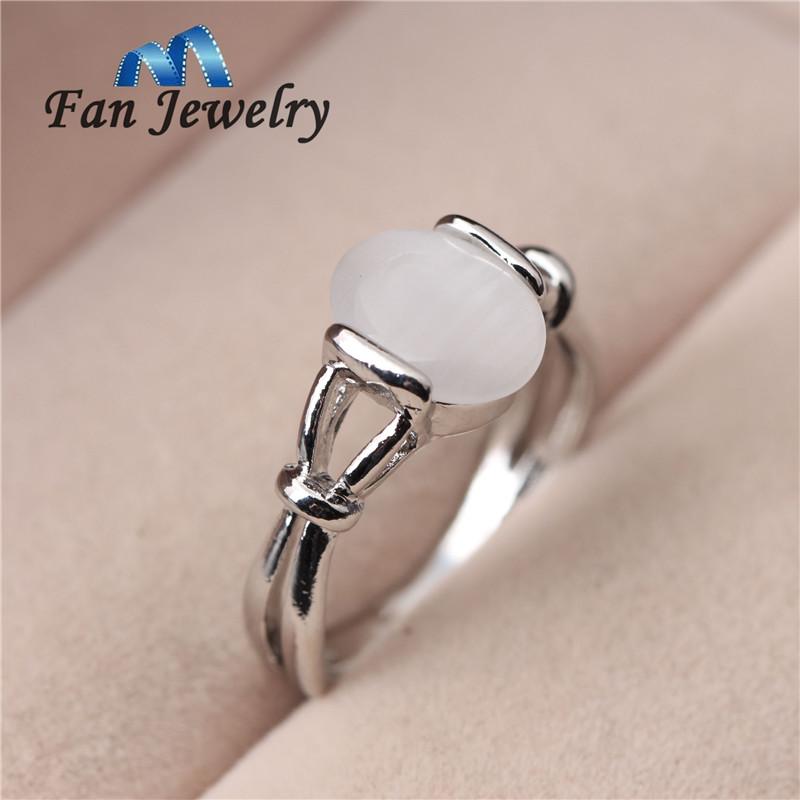 fashion jewelry 18K platinum plated Moonstone ring vampire twlight Bella love ring 049JZ(China (Mainland))