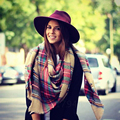 Women Big Size Cashmere Type Tartan Plaid Scarf Thick Basic Wrap Shawl Christmas Gift Brand WJ