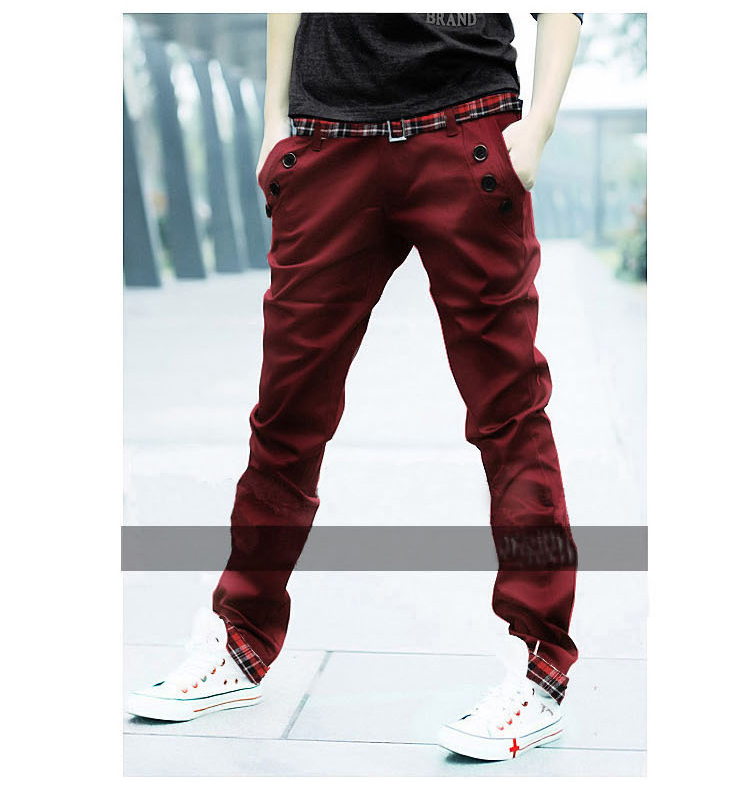 2015 Fashion Candy Color Mens Trousers Casual Men Plaid Slim Pants Spring Pantalones Dress Straight Pant