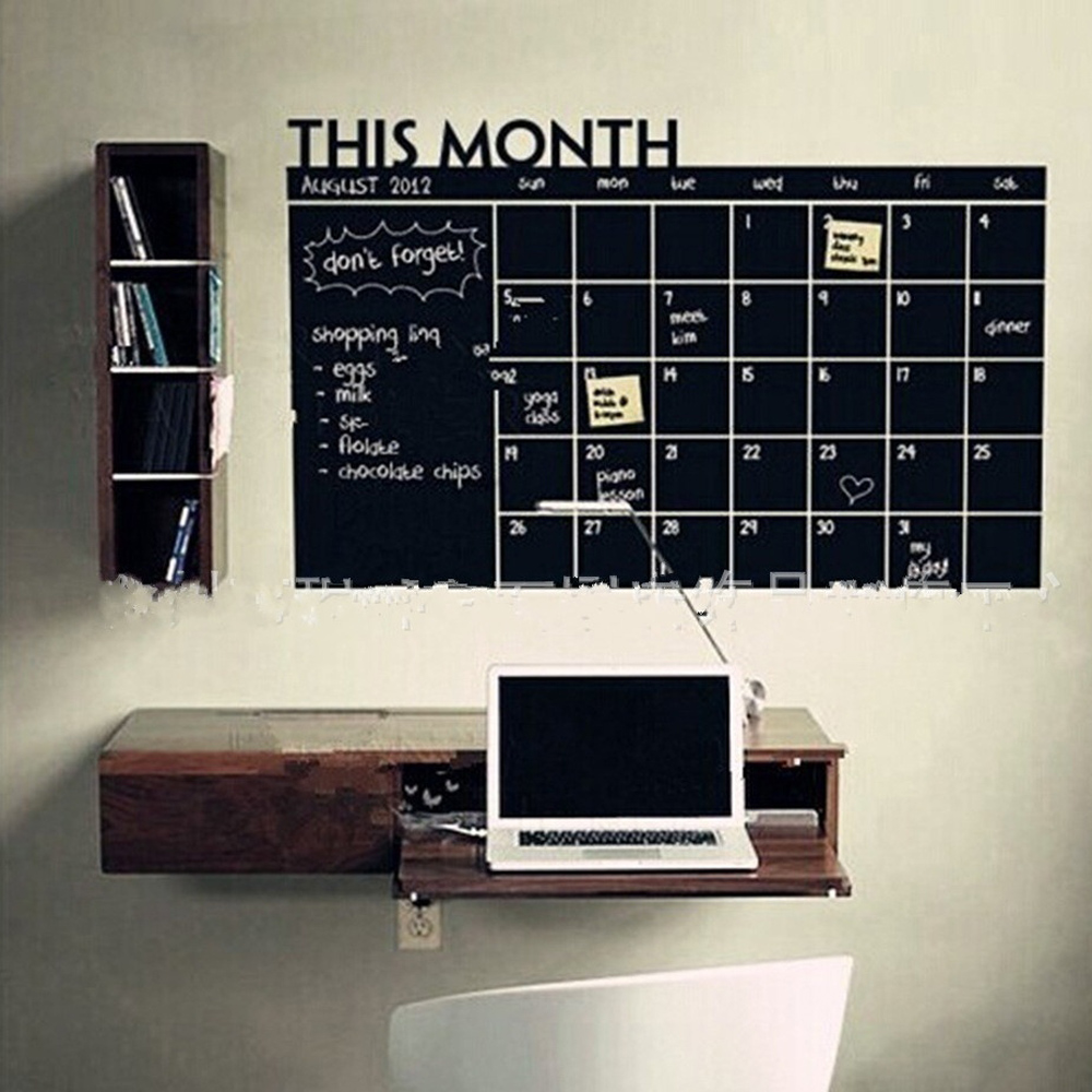 Home Decor Chalk Board Blackboard Monthly Weekly Calendar Vinyl Wall Sticker(China (Mainland))