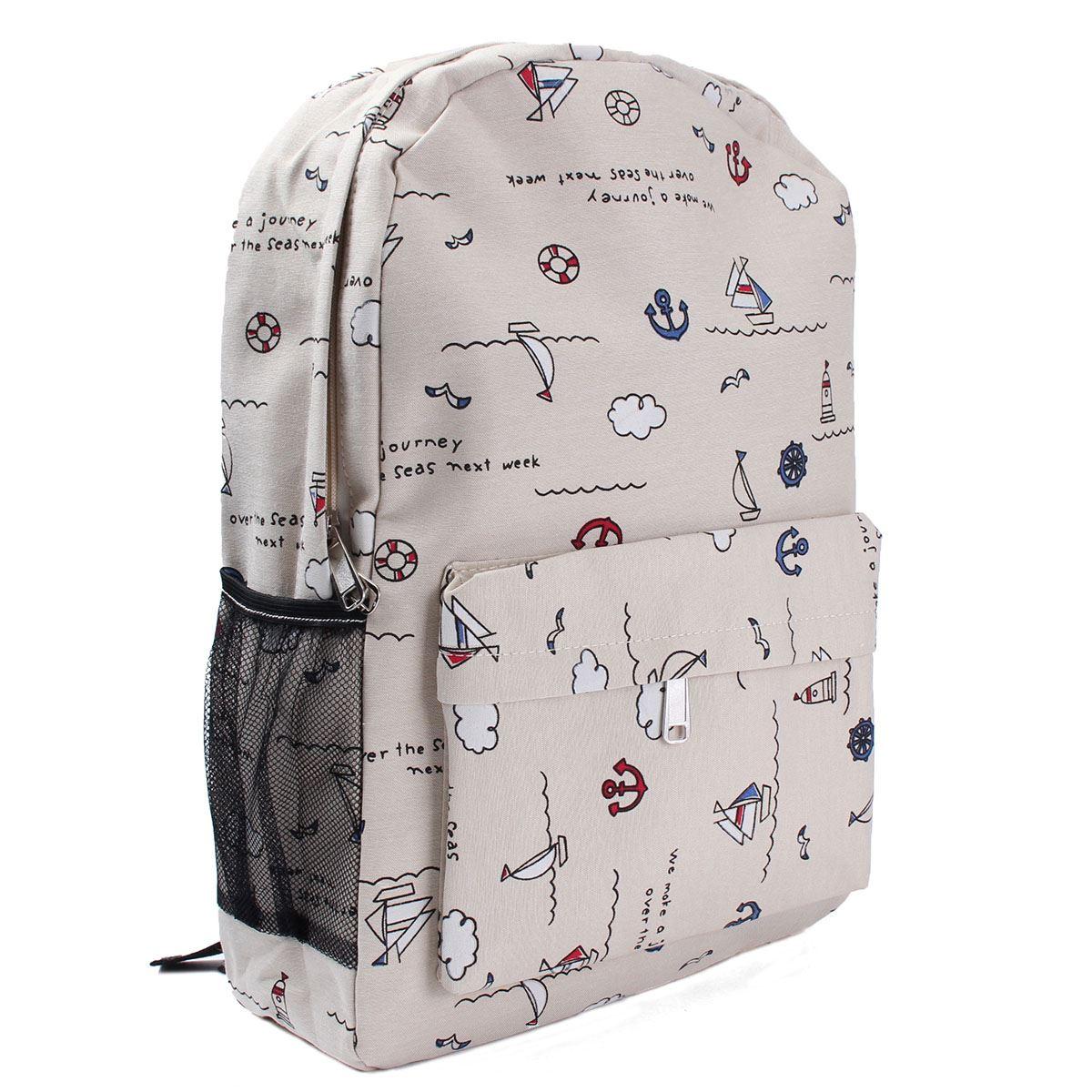 Мода девушки холст рюкзаки якорь рисунок студентов колледжа Mochila женщин мультфильм школа рюкзак сумки 4 цвета
