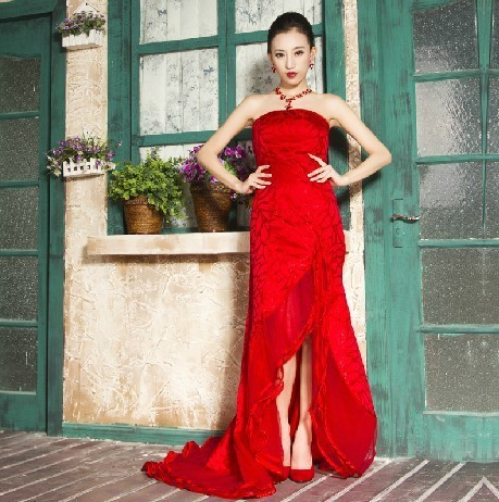 The most 2013 formal dress vintage bridal evening dress red long design sexy tube top small fish tail 8005