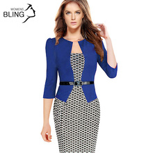 Buy Women One-Piece Faux Jacket 2016 Bodycon Women Fashion Sheath Dress Office Lady Patchwork Tunic Knee Length Work Pencil Dresses for $10.43 in AliExpress store