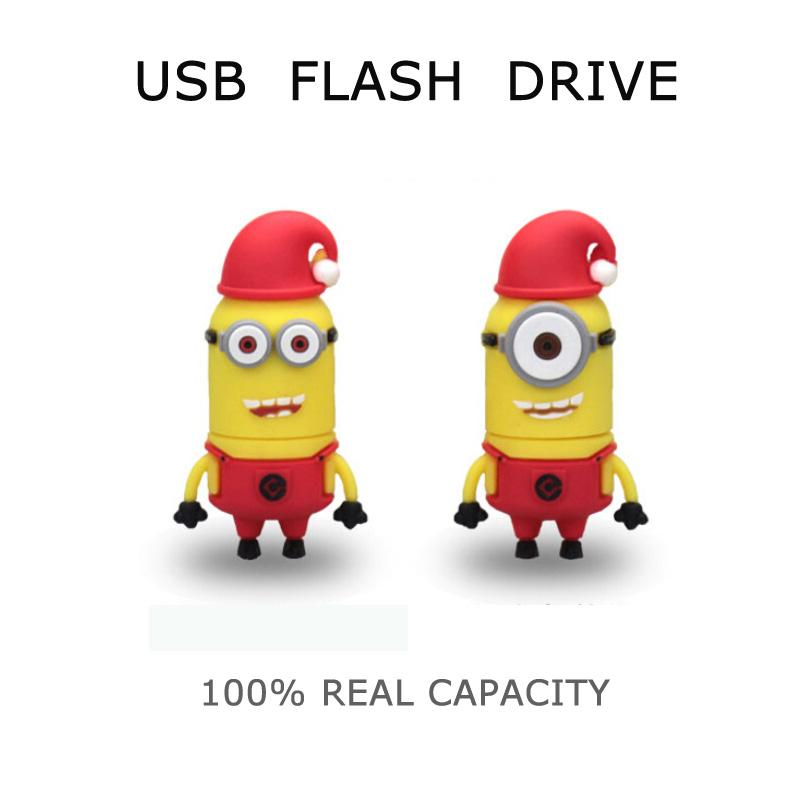 Full capacity lovely cartoon yellow man usb flash drive 32GB pendrive flash memory stick 64gb 4gb 8gb 16gb usb stick(China (Mainland))
