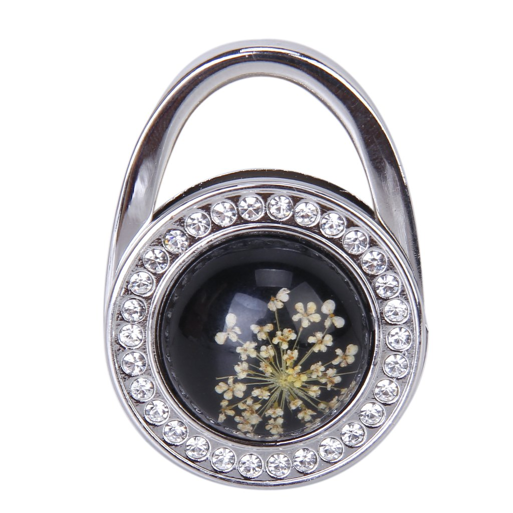 Pressed-Flower Pattern Round Rhinestone Handbag Folding Hanger Hook(China (Mainland))