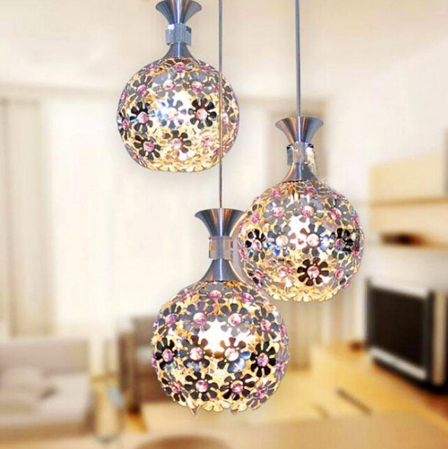 Plum Ball Ceiling ed aluminum dining room chandelier creative bar lamp single head three restaurant lights<br><br>Aliexpress