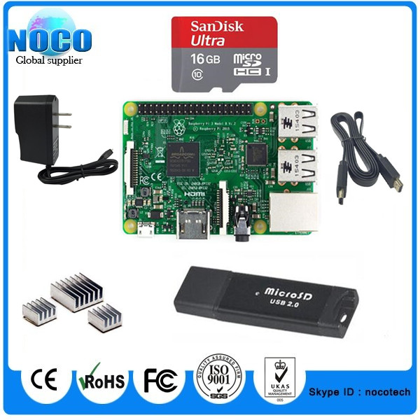 Wholesale Raspberry Pi 3 Model B+Heat Sink+16gb sd Card +Card Reader+HDMI to HDMI Cable+Power Adapter(China (Mainland))