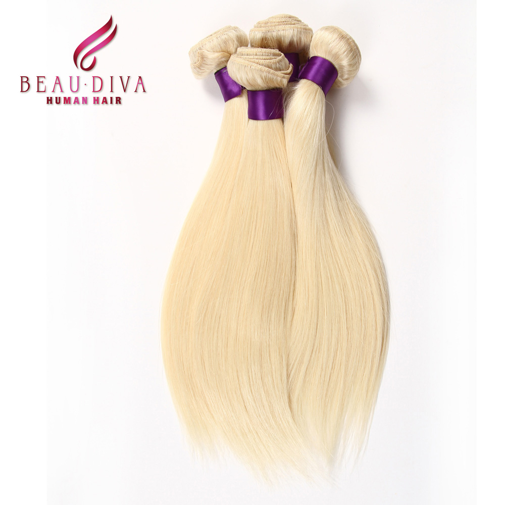 Honey Blonde Brazilian Hair 4 PCS/LOT Light Color Human Hair Extensions Can Be Dyed, Curled Straight 613 Blonde Virgin hair