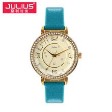 Señora de cuarzo reloj de pulsera de horas mejor vestido moda venda de la pulsera cristalina de cuero elegante de san valentín regalo de la muchacha Julius JA-807