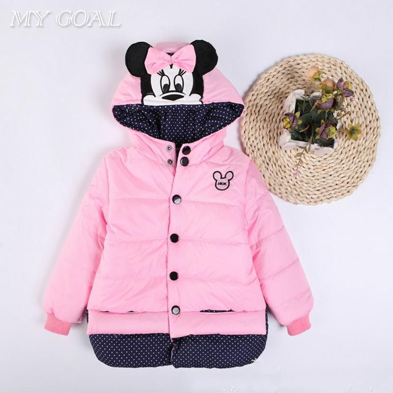 New Children Coat Minnie Baby Girls winter Coats full sleeve coat girl's warm Baby jacket Winter Outerwear Thick girl clothing(China (Mainland))