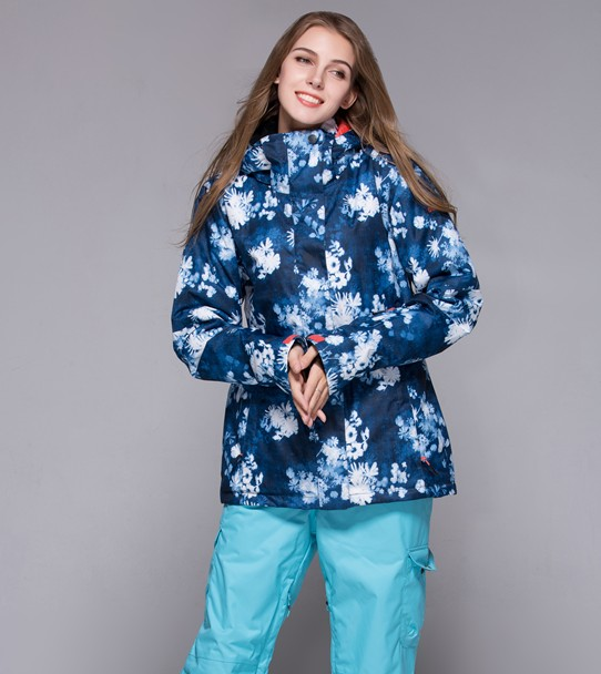 Gsou Snow womens flowered ski jacket flowers snowboarding jacket for women ladies skiing jacket waterproof skiwear anorak XS-L