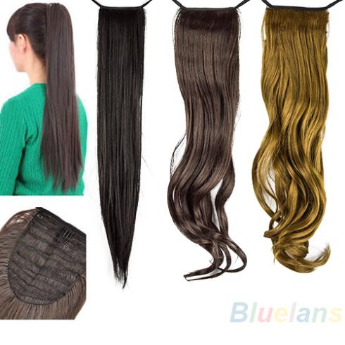 Synthetic Long Lady Wowen Straight Long Claw Clip Ponytail Pony Tail Hair Extension Black Yellow Sale 02FO(China (Mainland))