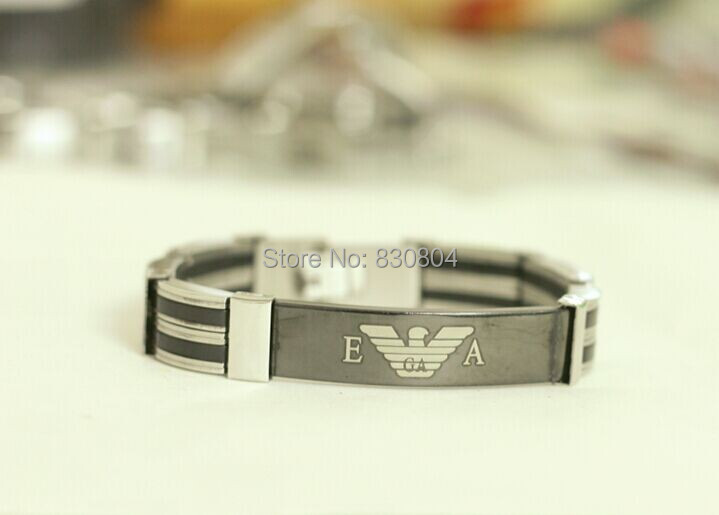YYBR220177 silver rubber black stainless steel bracelet mens inlay italy designer word brand bangle chain hot gift - Online Store 830804 store