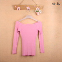 Sexy Autumn and Winter Women Basic Pullover Sweaters female slit neckline Strapless Sweater thickening sweater top thread slim(China (Mainland))