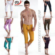 New wj men's  tight low-waist warm pants  underwear  male basic thermal long johns 7 colors size S M L(China (Mainland))